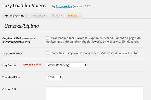 Settings page for lazy load for videos WordPress plugin
