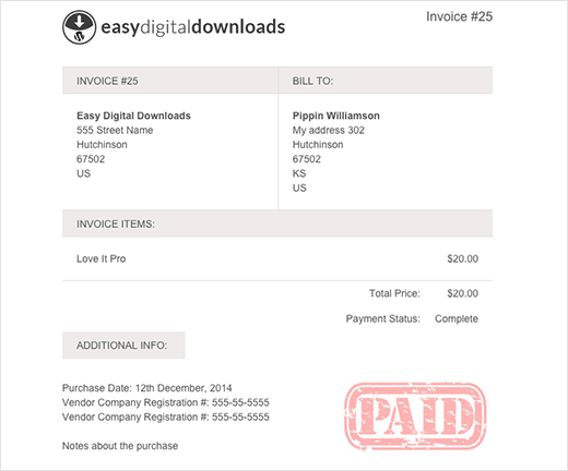 Aldiablosus  Unusual How To Add Customers Invoices For Easy Digital Downloads In Wordpress With Entrancing Preview Of A Invoice Generated In Easy Digital Downloads With Edd Invoices With Easy On The Eye Cash Receipt Sample Word Also Design Receipt In Addition Aos Fee Payment Receipt And Sample Rent Receipt Template As Well As Silvine Receipt Book Additionally Receipt Books Printed From Wpbeginnercom With Aldiablosus  Entrancing How To Add Customers Invoices For Easy Digital Downloads In Wordpress With Easy On The Eye Preview Of A Invoice Generated In Easy Digital Downloads With Edd Invoices And Unusual Cash Receipt Sample Word Also Design Receipt In Addition Aos Fee Payment Receipt From Wpbeginnercom