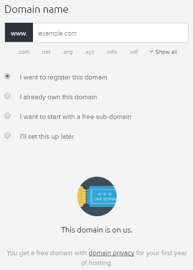 DreamHost free domain registration