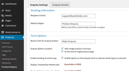 Product Enquiry plugin for WooCommerce