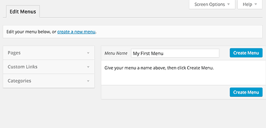 Creating menus in WordPress