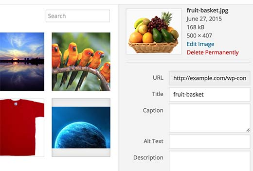 Default WordPress media title field filled with image file name