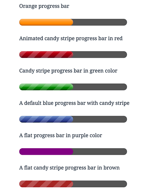 Using colors and changing appearance of progress bar