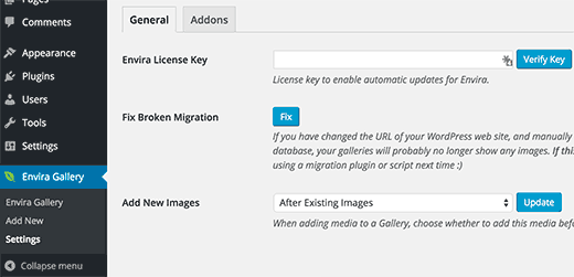 Verify for your Envira Gallery license key