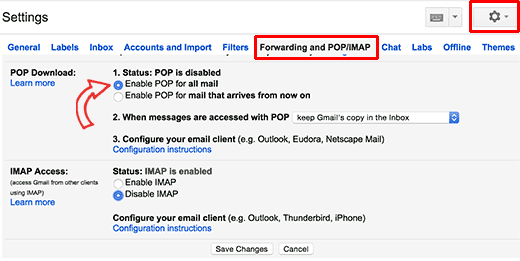 Turn on POP3 in Gmail