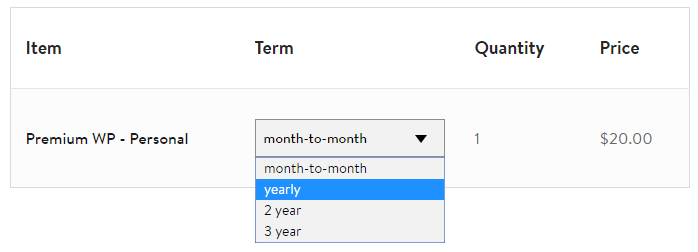Select the yearly term to get your Media Temple discount