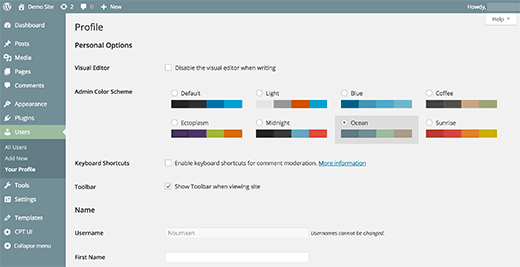 Changing the color scheme of WordPress admin area