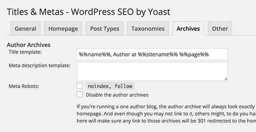 Yoast WordPress SEO plugin - Archive meta and title