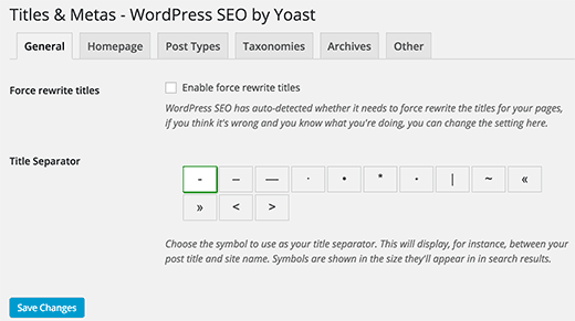 Yoast WordPress SEO - General Meta Settings