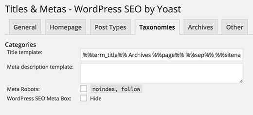Yoast WordPress SEO - Taxonomies title and meta settings