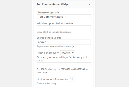 Top commenters widget settings