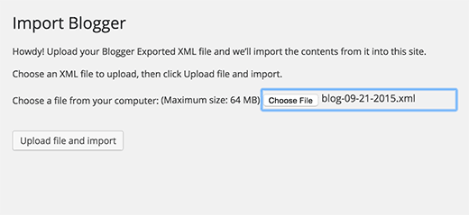 Upload export file