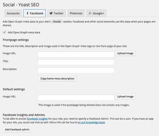 Adding Facebook social settings in WordPress SEO plugin by Yoast