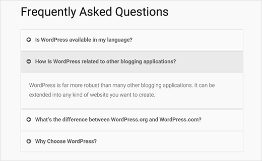 Toggle style FAQs