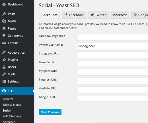 Add twitter username on social page under SEO settings