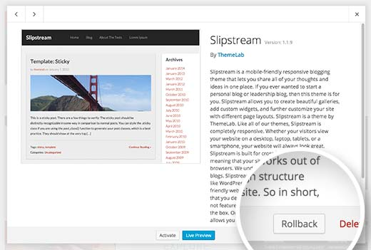 Rolling back a WordPress theme
