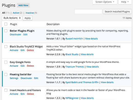 Default plugins screen in WordPress