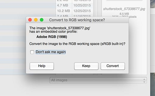 GIMP detecting and suggesting to covert color space