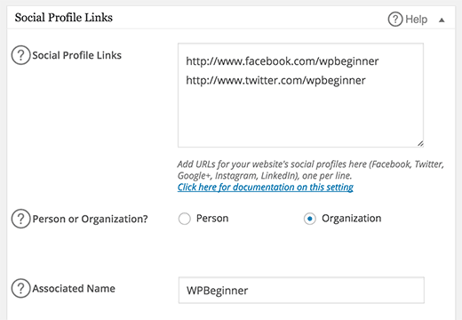 Adding your social profile links