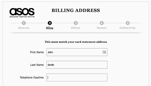 A multi-step checkout page example