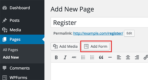 Add user registration form to a page in WordPress
