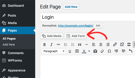 Add login form to a page