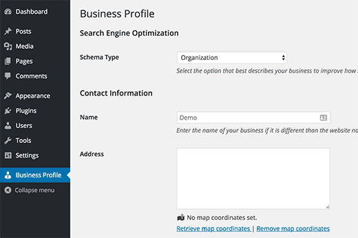 Business Profile plugin settings page