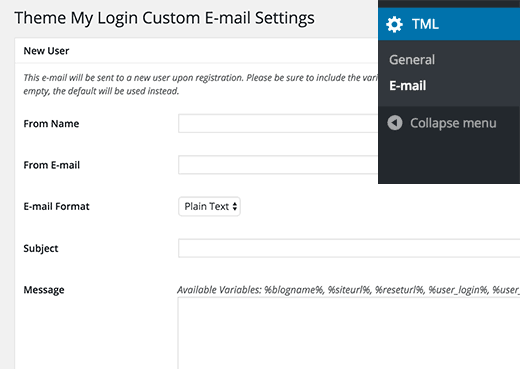 Theme My Login custom emails tab