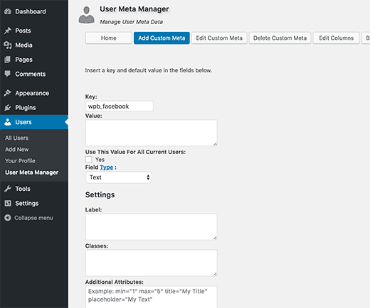 Adding custom user meta to user profiles in WordPress