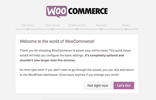 WooCommerce setup wizard step 1