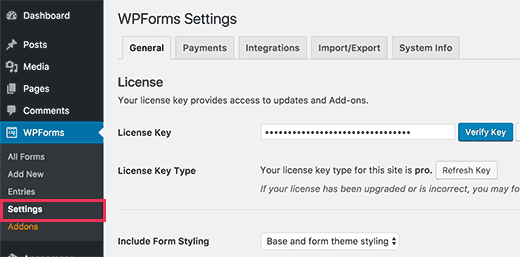 WPForms license key