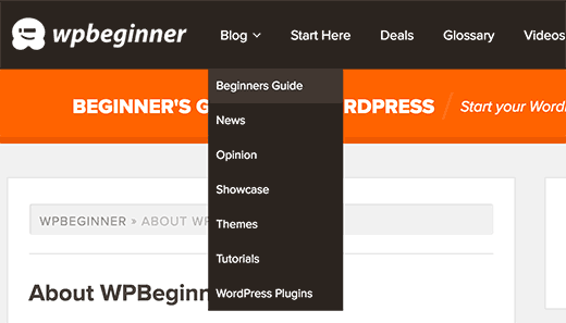 Displaying blog topics in WordPress navigation menu