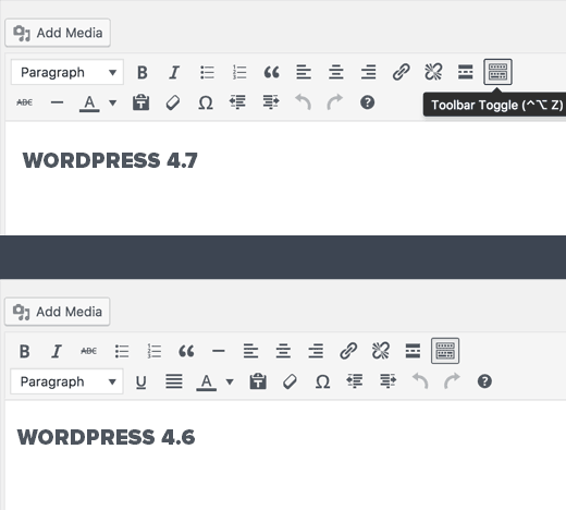 Post editor changes in WordPress 4.7