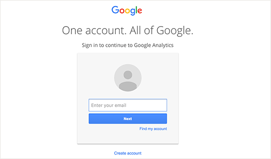 Login do Google Analytics