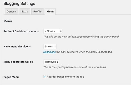 WordPress admin menu settings
