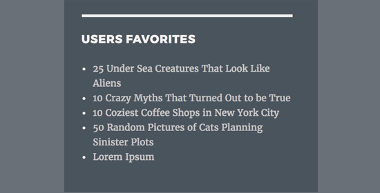User's favorite posts shown in sidebar widget
