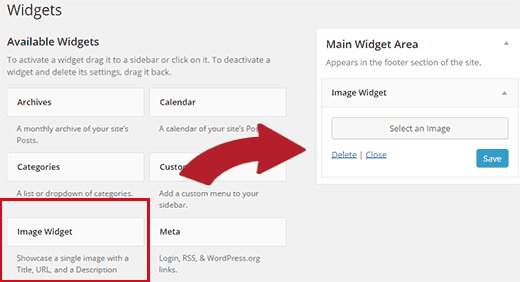 Image widget in WordPress
