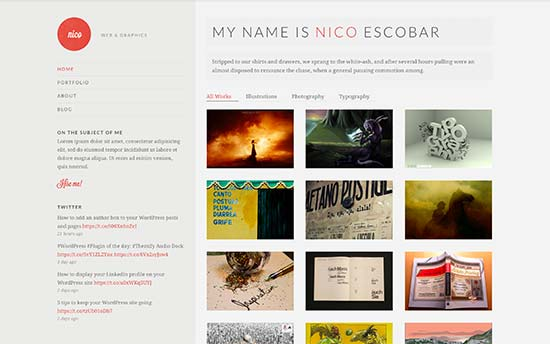 nico is a beautifully designed wordpress theme for resume photography and portfolio websites it has a beautiful filterable portfolio with grid layout