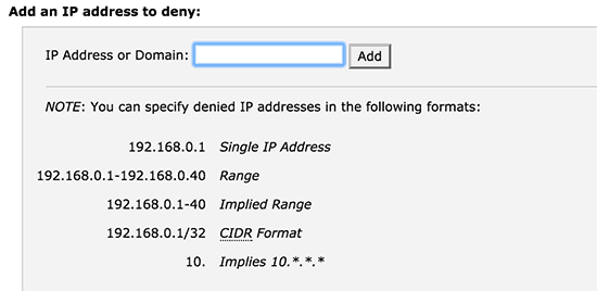 Blocking IP addresses in cPanel