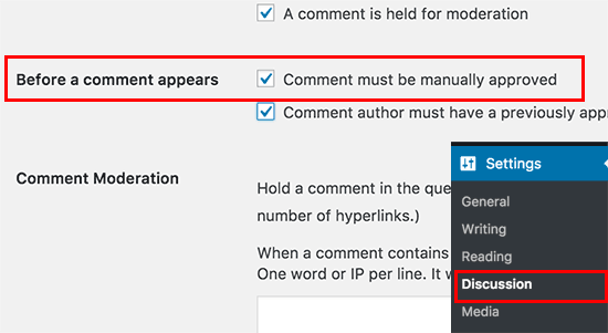 Enable comment moderation in WordPress
