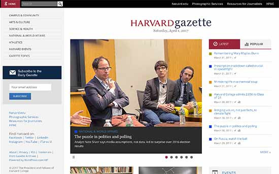 Harvard Gazette Online