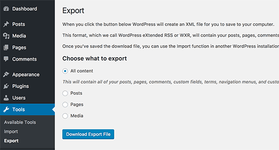 Download WordPress export file