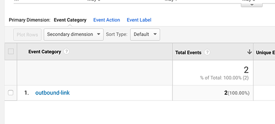 Outbound link event category in Google Analytics