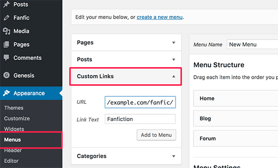 Add fanfiction to navigation menus in WordPress
