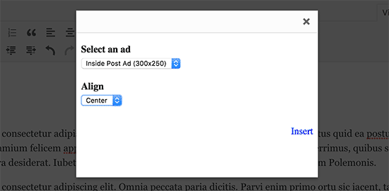 Select and insert ad