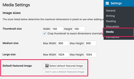 Default featured image settings
