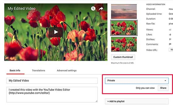 YouTube video privacy settings