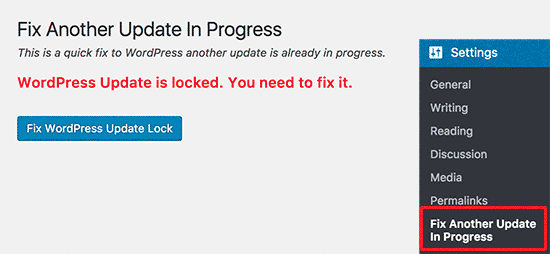 Fix WordPress update lock
