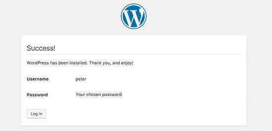 WordPress successfully installed in the subdirectory