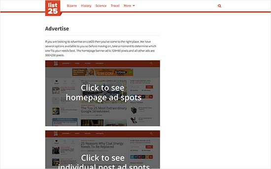 Advertise with us page on list25